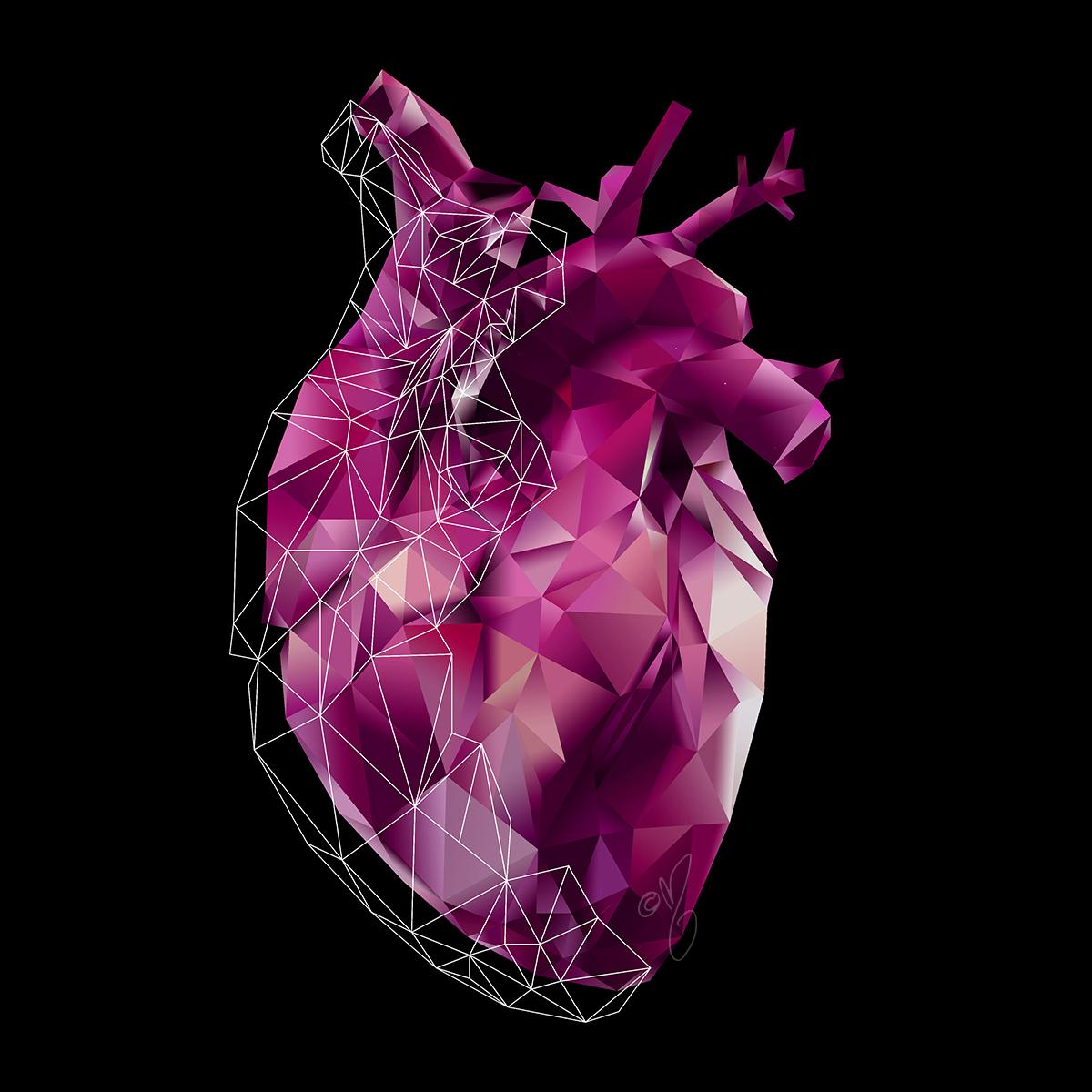 anatomy art // pink polygon heart